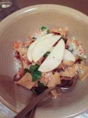Lamb bolognese with buckwheat pappardelle, apple, mint and sheep's milk cheese