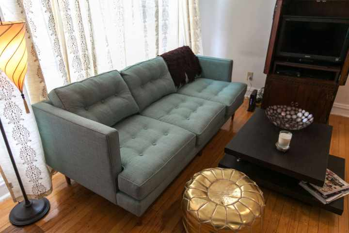 An Ocean Blue Couch My Living Room So Far West Elm Peggy Sofa