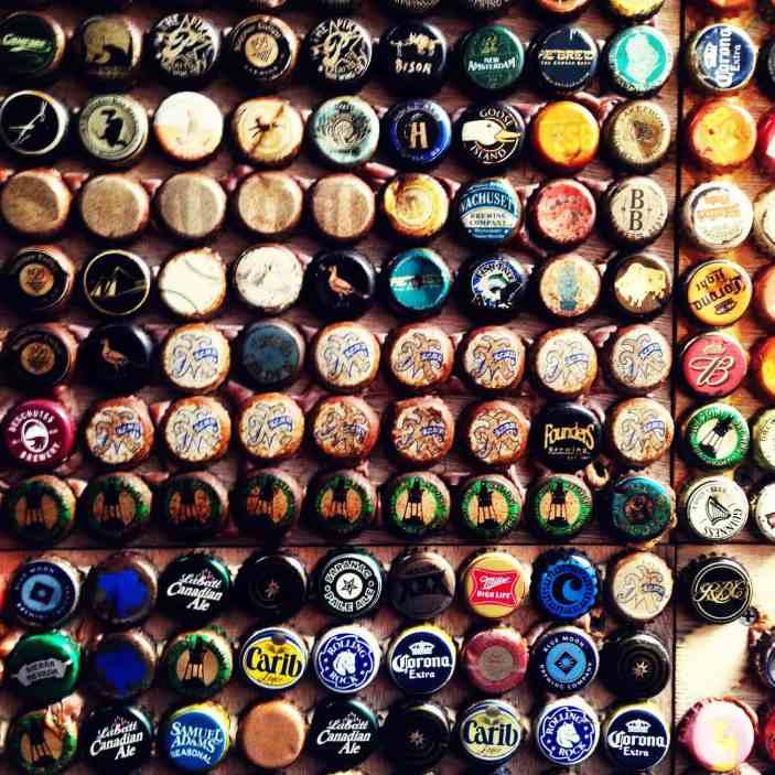 Beer cap wall at Barcade in Williamsburg, Brooklyn.