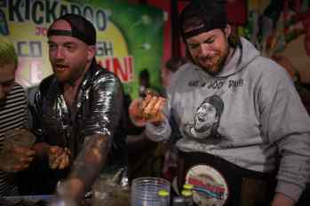 Kevin LA Beast and Tim Brown eat a 40-pound goat to beat the Chicago Cubs billy goat curse.