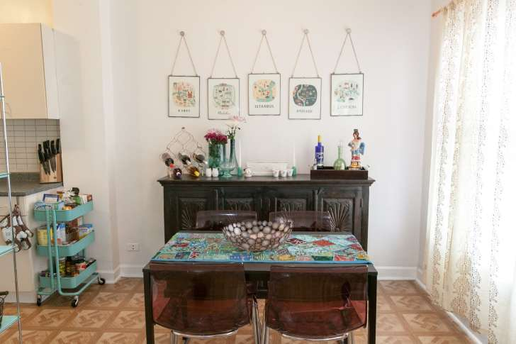 My teal global-inspired dining room.