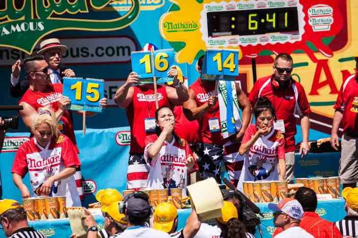 Sonya Thomas eats at the 2016 Nathan's Famous hot dog eating contest at Coney Island.