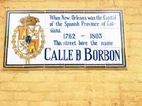 Calle D Borbon sign in New Orleans.