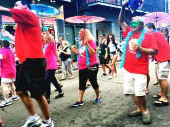 Parading down Bourbon Street in New Orleans.