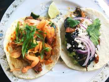 Potato and Poblano and Market Mushroom tacos at Antique Taco.