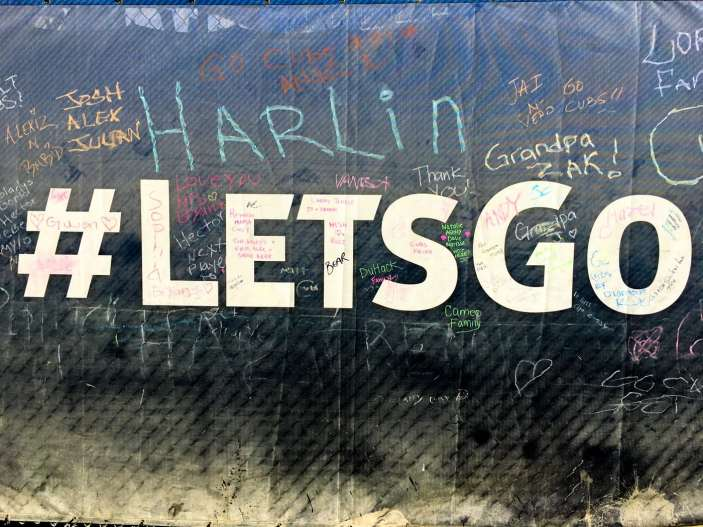 People write their names in chalk all around Wrigley Field following the Cubs 2016 World Series Championship.