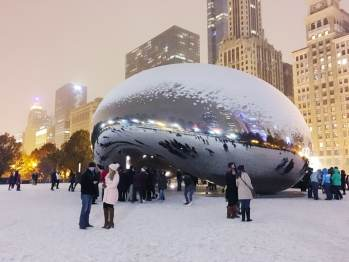 Cloud Gate at Christmas in Millennium Park in Chicago.