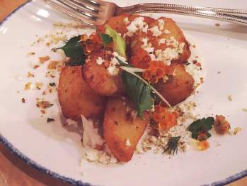 Cauliflower and potatoes in sour cream with trout roe - New Year's Eve dinner at Giant restaurant in Chicago.