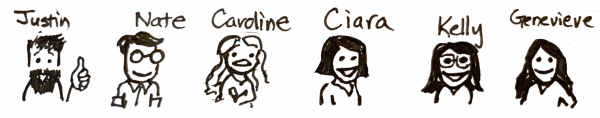 Scribble drawing of contributors to the design system at Choozle, Justin, Nate, Caroline, Ciara, Kelly and Genevieve