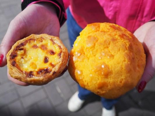 egg tart & pineapple bun