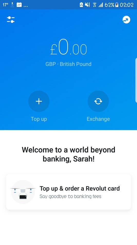 Revolut welcome screen