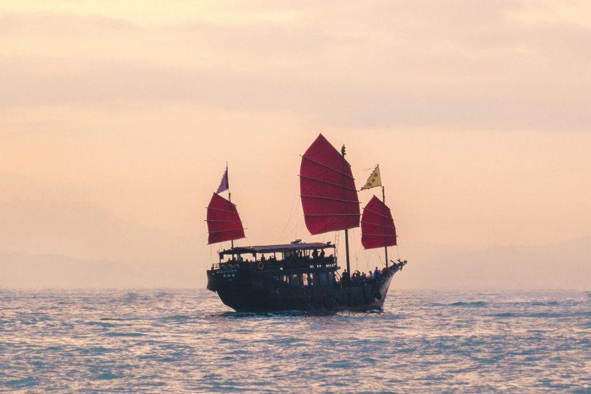 red sail junk boat in Hong Kong