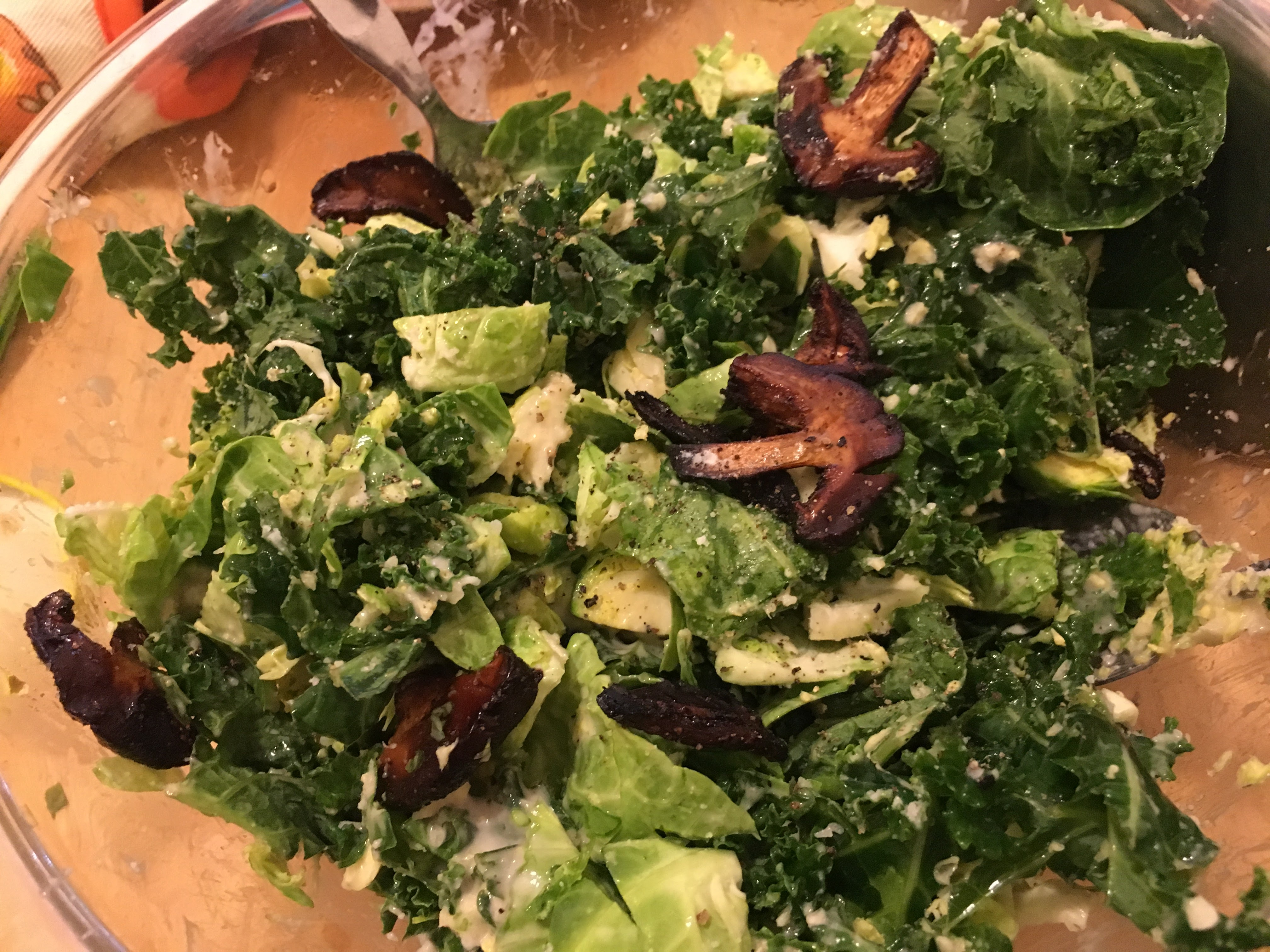 Kale & Brussel Sprouts Salad with Shiitake Mushroom Bacon