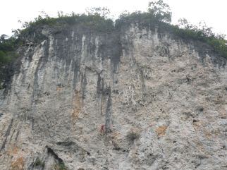rock climbers on the back of Moon Hill