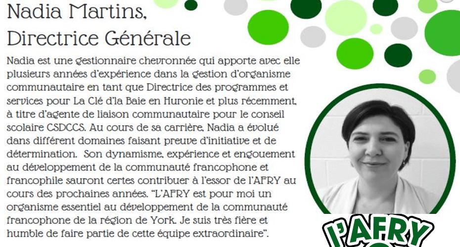 """""""La région de York est immense, nous devons répondre aux besoins individuels de chaque communauté"""" Nadia Martins, directrice générale de l'AFRY - CHOQ FM 105.1"""