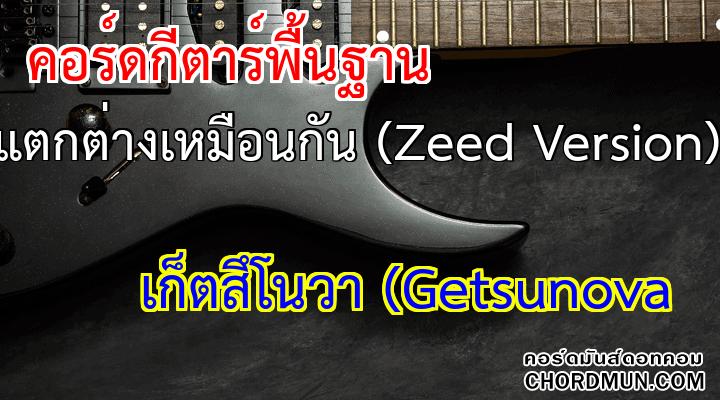 คอร์ดกีตาร์ ง่าย เพลง แตกต่างเหมือนกัน (Zeed Version)
