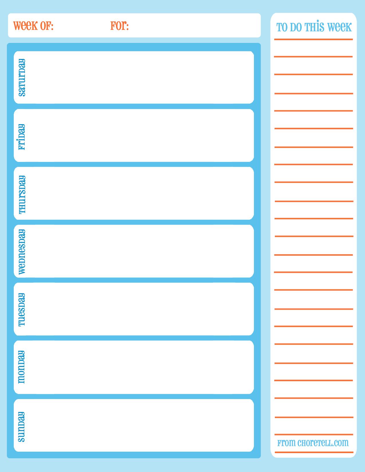 Free Printable Weekly Chore Calendar