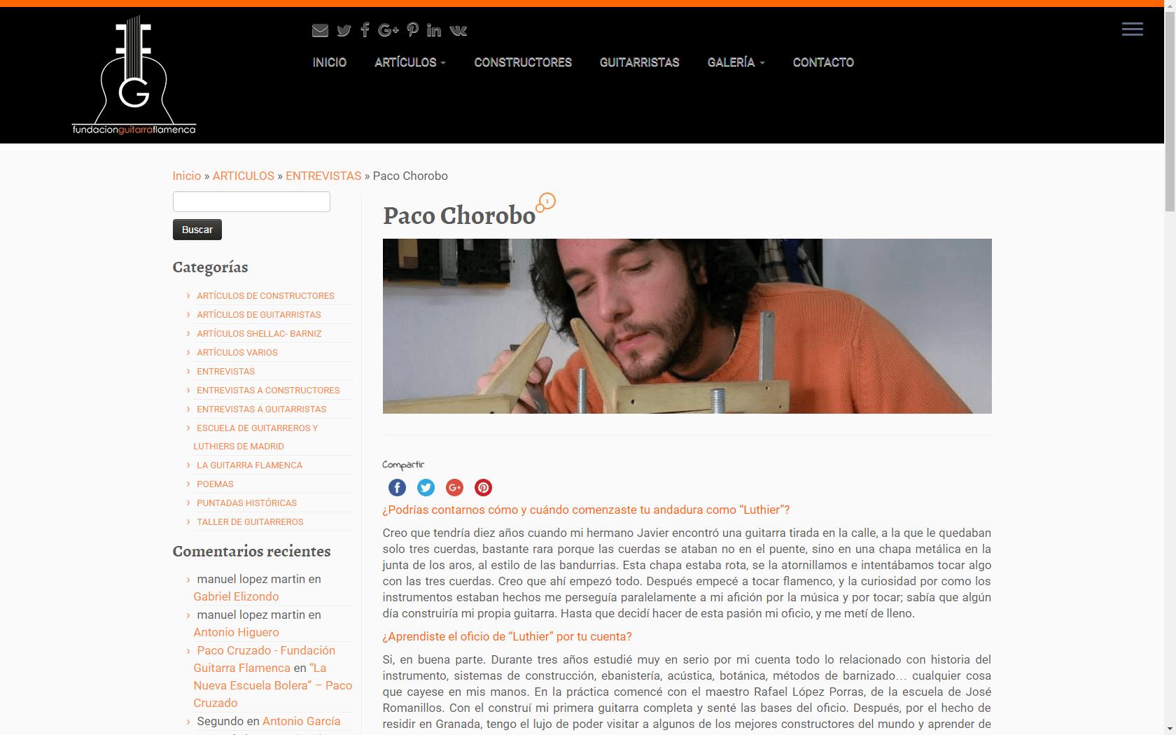 Paco Chorobo - Constructor de guitarras artesanas