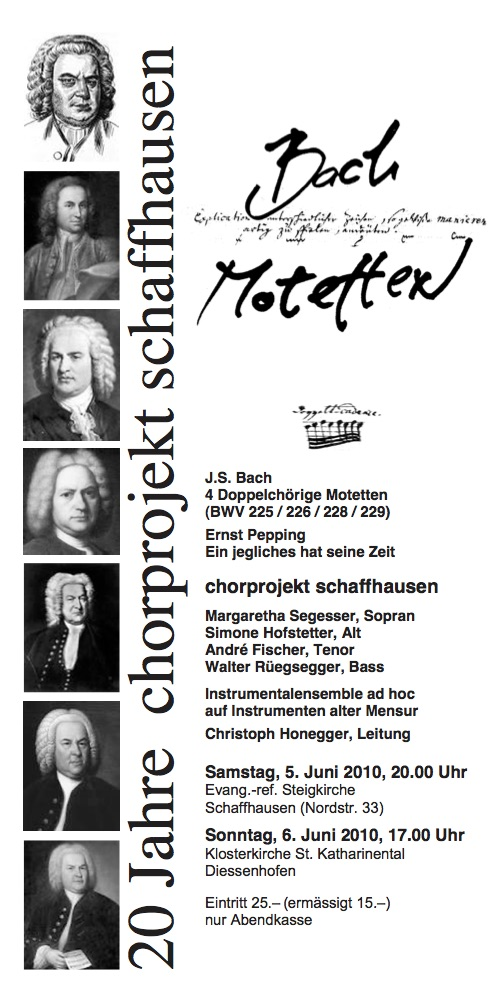 5.6.2010: Evangelisch-Reformierte Steigkirche, Schaffhausen 6.6.2010: Klosterkirche St. Katharinental, Diessenhofen