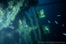 Světla vraku Golu, potápění v Chorvatsku