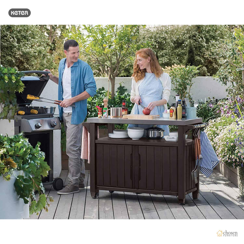 patio bar serving cart durable bbq