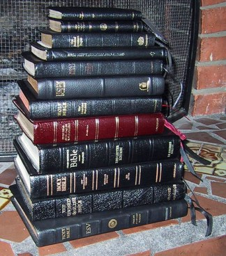Stack of Bibles (various translations)