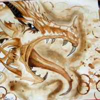 Blue eyed dragon [coffee painting]
