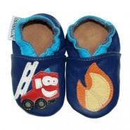 chaussons bébé en cuir au feu les pompiers 100% artisanal CHOUBALLON
