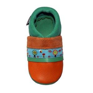 Les chaussons en cuir souple bebe fabrication française ruban Nature Chouballon