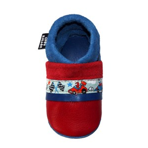 Les chaussons en cuir souple bebe fabrication française ruban voiture Chouballon