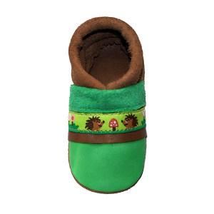 Les chaussons en cuir souple bebe fabrication française ruban Hérisson Chouballon