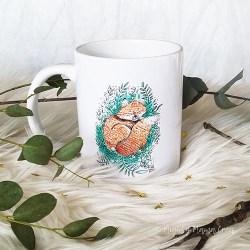 Hand-printed fox mug