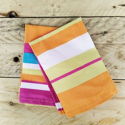 Handmade and reusable table napkin with colorful lines from La Parenthese d'Yllen