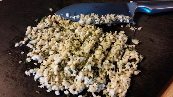 Chopped garlic and fresh thyme