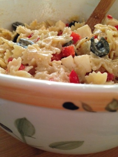 Pour dressing over pasta mixture and toss. Refrigerate for several hours or overnight for best flavor.