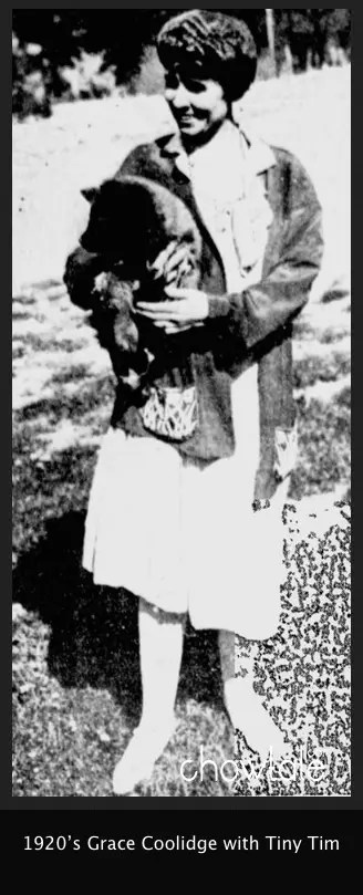 Grace coolidge holding Tiny tim as a puppy