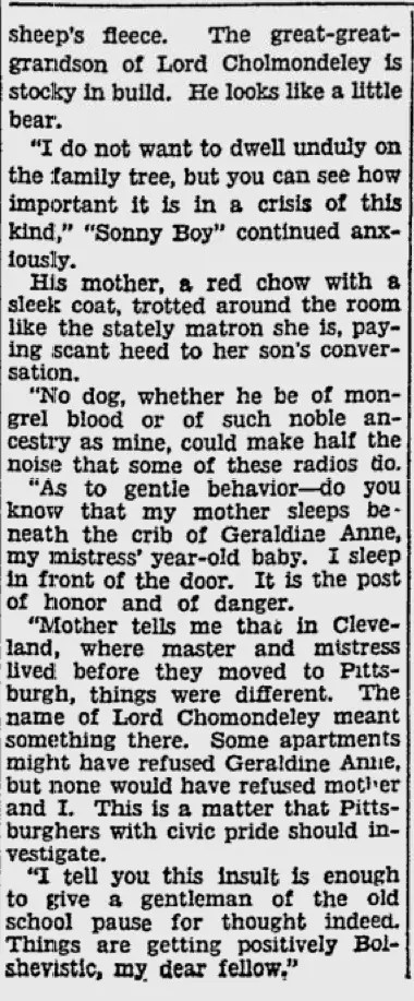 Sonny Boy dog writes his own story.  5 pix  1930 Pittsburg Press