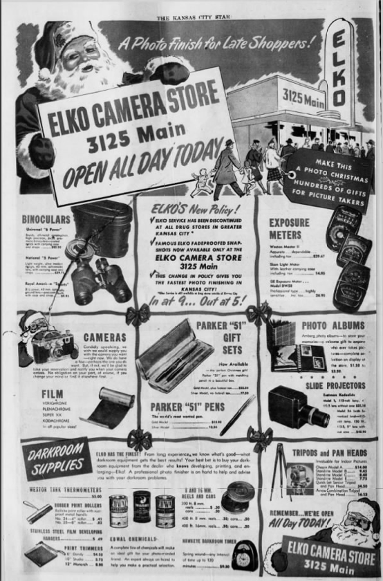 1946 ADVERTISEMENT FOR ELKO CAMERA STORE IN THE KANSAS CITY STAR NEWSPAPER