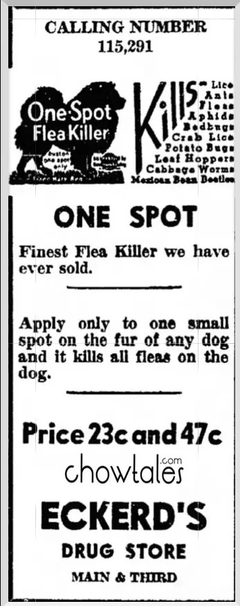 1938 one spot flea killer newspaper ad