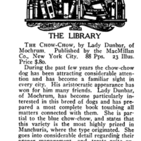 BOOK-  'THE CHOW CHOW'  by Lady Dunbar of Mochrum   1924