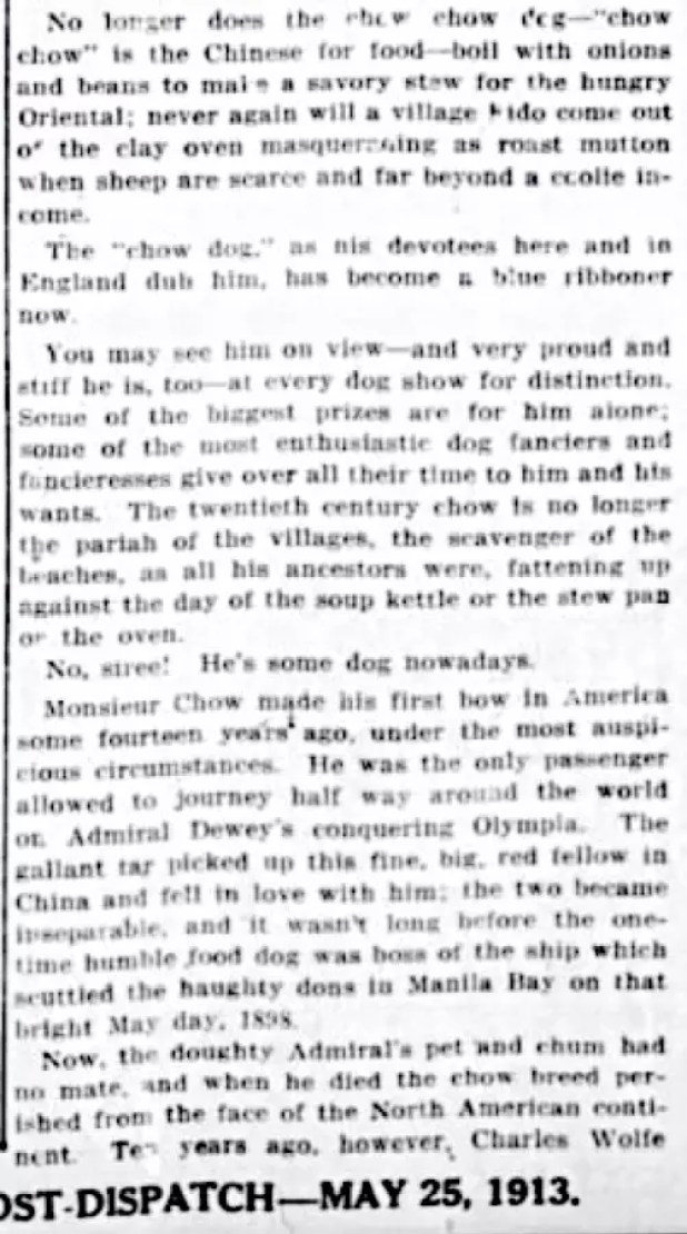 1913 ARTICLE ADMIRAL DEWEY FOUND CHOWS