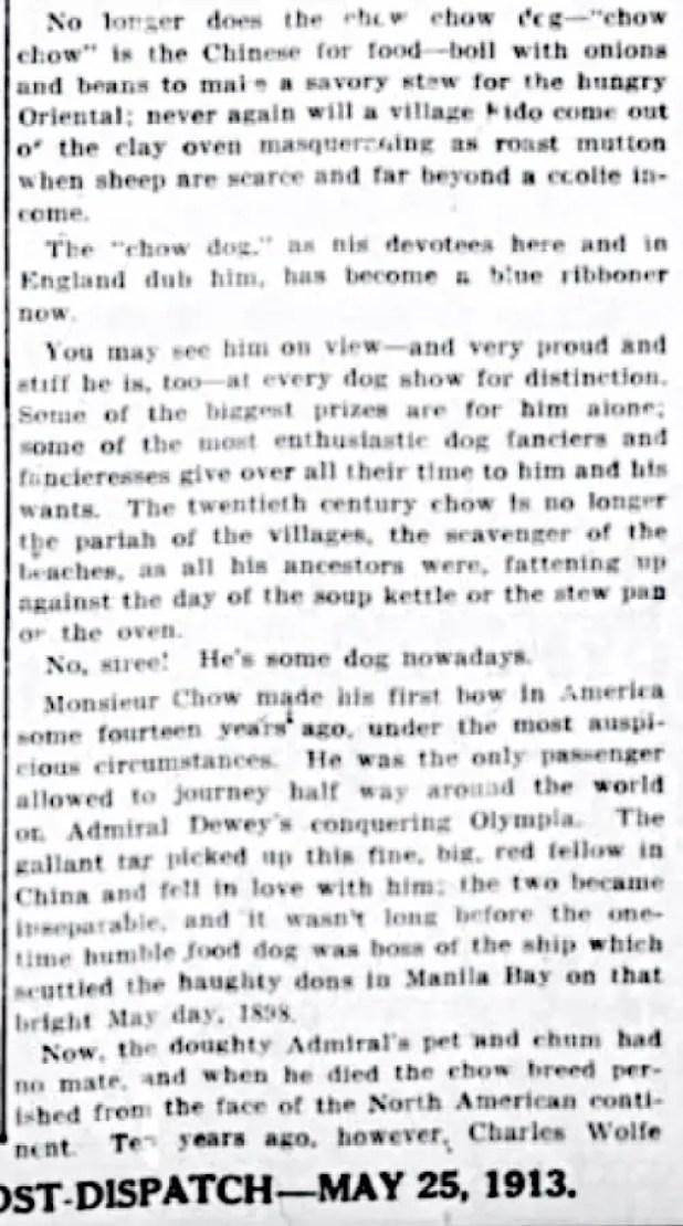 1913 ARTICLE ADMIRAL DEWEY FOUND CHOWS