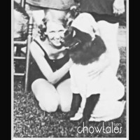 "1931 The Johnsen Family plays dressup  with their chow ""Jack"""