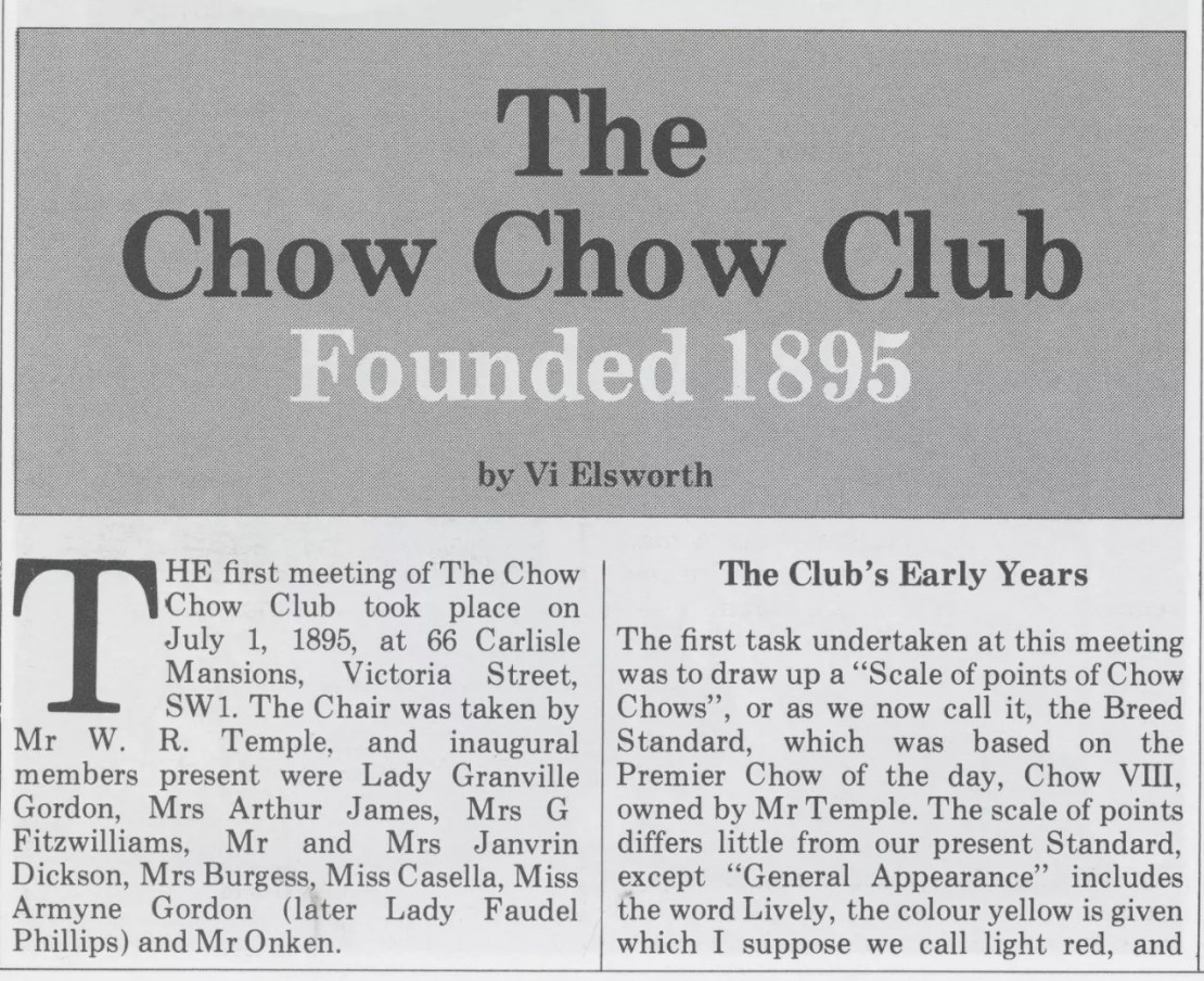 P-1-A Kennel Gazette Feb 1985 founding of Chow Chow Club UK - Version 3