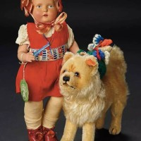 1930's Steiff Mohair Chow and German doll from Shirley Temple's play room