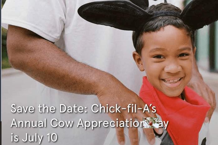 一年一度品牌日,主餐免費送 美國喬治亞州雞肉連鎖 chick-fil-a 2018年7月10日Save the Date: Chick-fil-A's Annual Cow Appreciation
