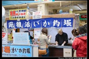 函館車站旁 駅二朝市 イカ釣り 釣活魷魚新鮮上桌