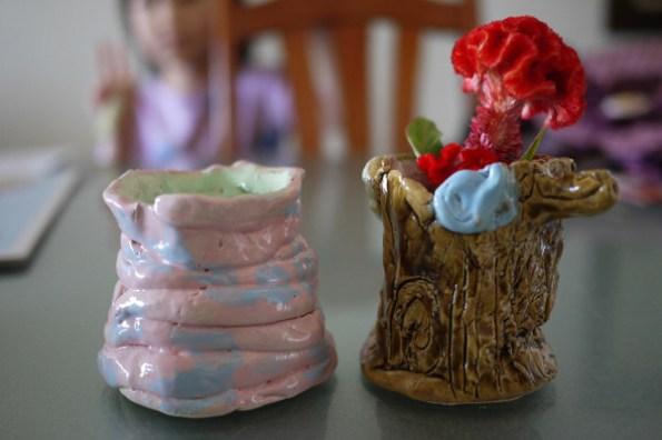 子喬的陶土作品-筆筒與花瓶
