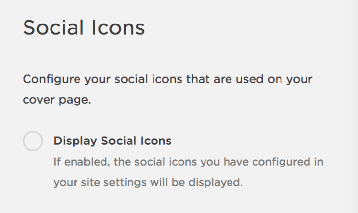 "Squarespace's ""Social Icons"" panel, which features a toggle to turn on/off social icons."