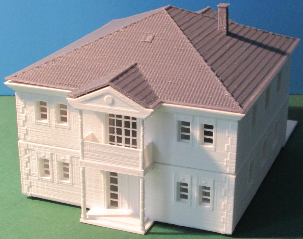 3D-gedrucktes 1:100 Modell eines MABA-Hauses